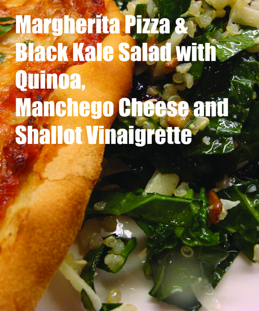 Pizza and Black Kale Salad