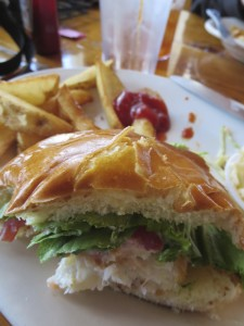 Fried Cod Fish Sandwich and Chips