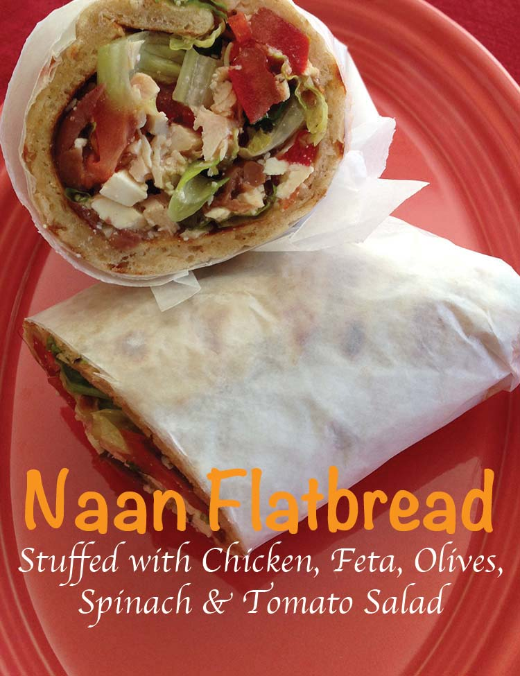 Naan Flatbread Stuffed with Chicken, Feta, Olives, Spinach & Tomato Saladtled-1